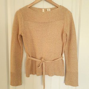 Moth Boatneck Cotton Sweater With Self Belt Size S